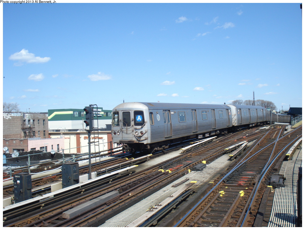 (349k, 1044x788)<br><b>Country:</b> United States<br><b>City:</b> New York<br><b>System:</b> New York City Transit<br><b>Line:</b> IND Fulton Street Line<br><b>Location:</b> Rockaway Boulevard <br><b>Route:</b> A<br><b>Car:</b> R-46 (Pullman-Standard, 1974-75) 5968 <br><b>Photo by:</b> Al Bennett, Jr.<br><b>Date:</b> 4/3/2013<br><b>Viewed (this week/total):</b> 0 / 649