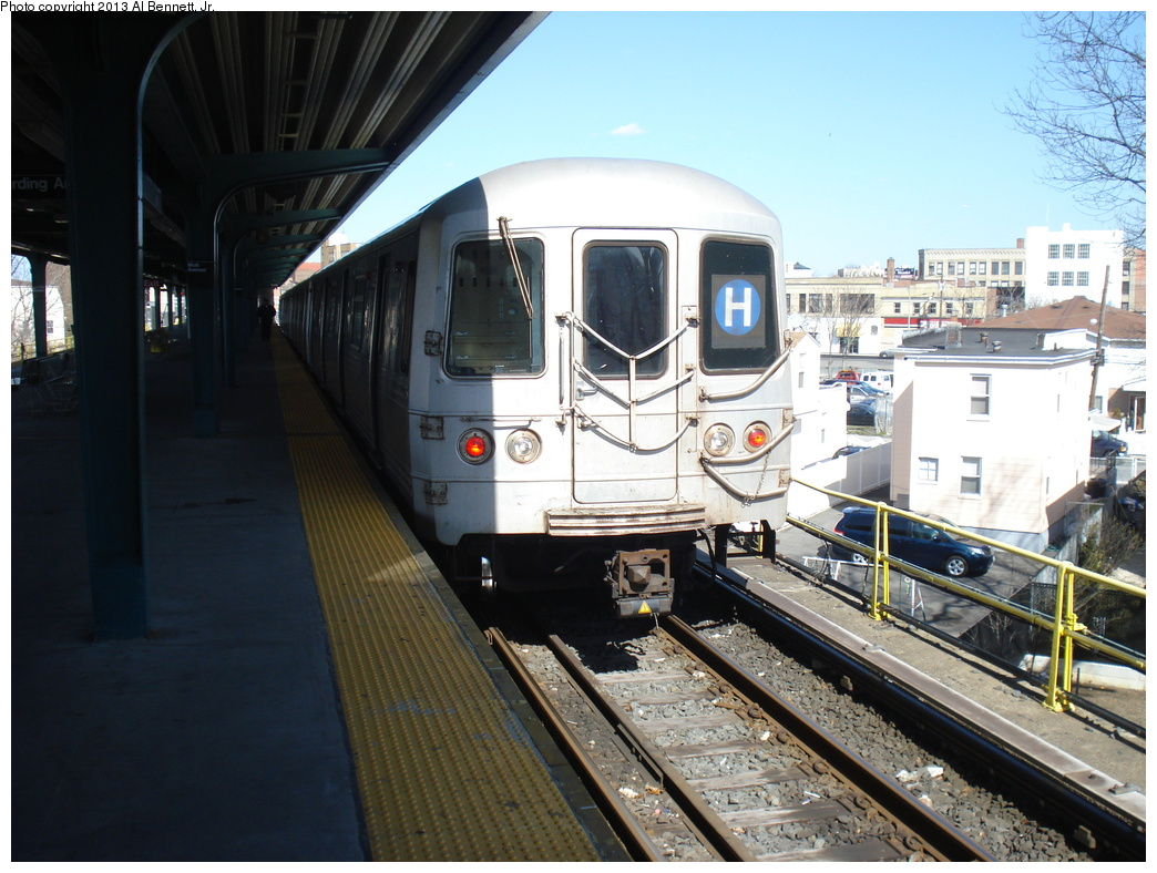 (342k, 1044x788)<br><b>Country:</b> United States<br><b>City:</b> New York<br><b>System:</b> New York City Transit<br><b>Line:</b> IND Rockaway<br><b>Location:</b> Mott Avenue/Far Rockaway <br><b>Route:</b> H<br><b>Car:</b> R-46 (Pullman-Standard, 1974-75)  <br><b>Photo by:</b> Al Bennett, Jr.<br><b>Date:</b> 4/3/2013<br><b>Viewed (this week/total):</b> 5 / 966