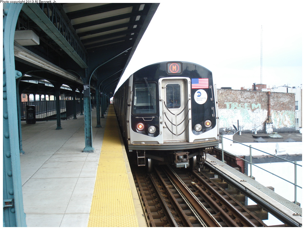 (320k, 1044x788)<br><b>Country:</b> United States<br><b>City:</b> New York<br><b>System:</b> New York City Transit<br><b>Line:</b> BMT Myrtle Avenue Line<br><b>Location:</b> Wyckoff Avenue <br><b>Route:</b> M<br><b>Car:</b> R-160A/R-160B Series (Number Unknown)  <br><b>Photo by:</b> Al Bennett, Jr.<br><b>Date:</b> 4/1/2013<br><b>Viewed (this week/total):</b> 0 / 1195