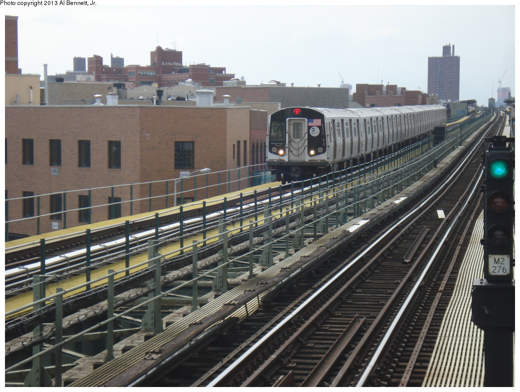 (349k, 1044x788)<br><b>Country:</b> United States<br><b>City:</b> New York<br><b>System:</b> New York City Transit<br><b>Line:</b> BMT Myrtle Avenue Line<br><b>Location:</b> Knickerbocker Avenue <br><b>Route:</b> M<br><b>Car:</b> R-160A-1 (Alstom, 2005-2008, 4 car sets)  8456 <br><b>Photo by:</b> Al Bennett, Jr.<br><b>Date:</b> 4/1/2013<br><b>Viewed (this week/total):</b> 1 / 1269