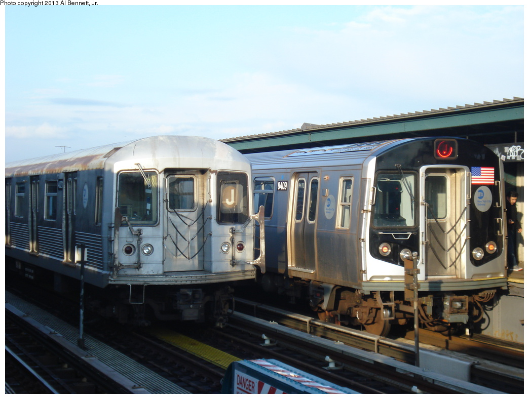 (280k, 1044x788)<br><b>Country:</b> United States<br><b>City:</b> New York<br><b>System:</b> New York City Transit<br><b>Line:</b> BMT Nassau Street/Jamaica Line<br><b>Location:</b> 111th Street <br><b>Route:</b> J<br><b>Car:</b> R-160A-1 (Alstom, 2005-2008, 4 car sets)  8409 <br><b>Photo by:</b> Al Bennett, Jr.<br><b>Date:</b> 4/1/2013<br><b>Viewed (this week/total):</b> 0 / 1135