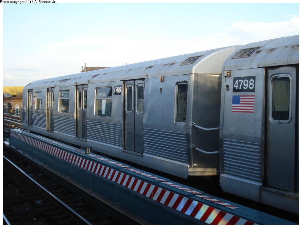 (269k, 1044x788)<br><b>Country:</b> United States<br><b>City:</b> New York<br><b>System:</b> New York City Transit<br><b>Line:</b> BMT Nassau Street/Jamaica Line<br><b>Location:</b> 111th Street <br><b>Route:</b> J layup<br><b>Car:</b> R-42 (St. Louis, 1969-1970)  4799 <br><b>Photo by:</b> Al Bennett, Jr.<br><b>Date:</b> 4/1/2013<br><b>Viewed (this week/total):</b> 2 / 742