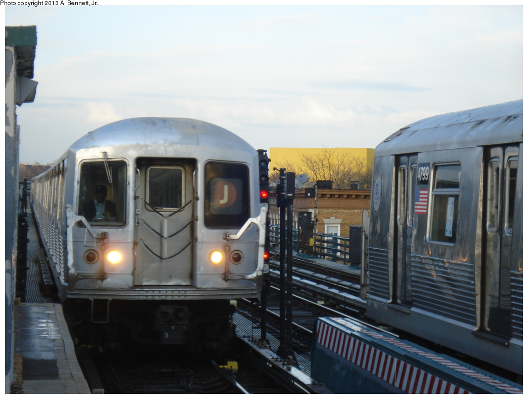 (258k, 1044x788)<br><b>Country:</b> United States<br><b>City:</b> New York<br><b>System:</b> New York City Transit<br><b>Line:</b> BMT Nassau Street/Jamaica Line<br><b>Location:</b> 111th Street <br><b>Route:</b> J<br><b>Car:</b> R-42 (St. Louis, 1969-1970)   <br><b>Photo by:</b> Al Bennett, Jr.<br><b>Date:</b> 4/1/2013<br><b>Viewed (this week/total):</b> 1 / 899