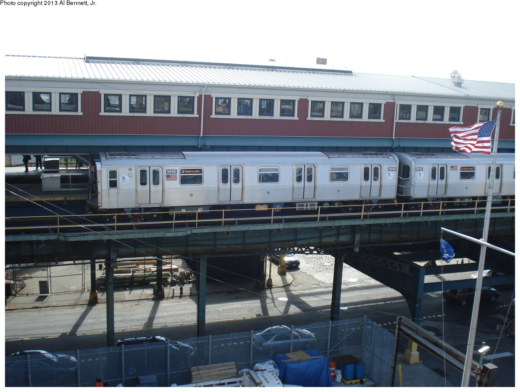 (317k, 1044x788)<br><b>Country:</b> United States<br><b>City:</b> New York<br><b>System:</b> New York City Transit<br><b>Line:</b> BMT Nassau Street/Jamaica Line<br><b>Location:</b> Broadway/East New York (Broadway Junction) <br><b>Route:</b> J<br><b>Car:</b> R-160A (Option 2) (Alstom, 2009, 4-car sets)  9946 <br><b>Photo by:</b> Al Bennett, Jr.<br><b>Date:</b> 4/2/2013<br><b>Viewed (this week/total):</b> 0 / 1264