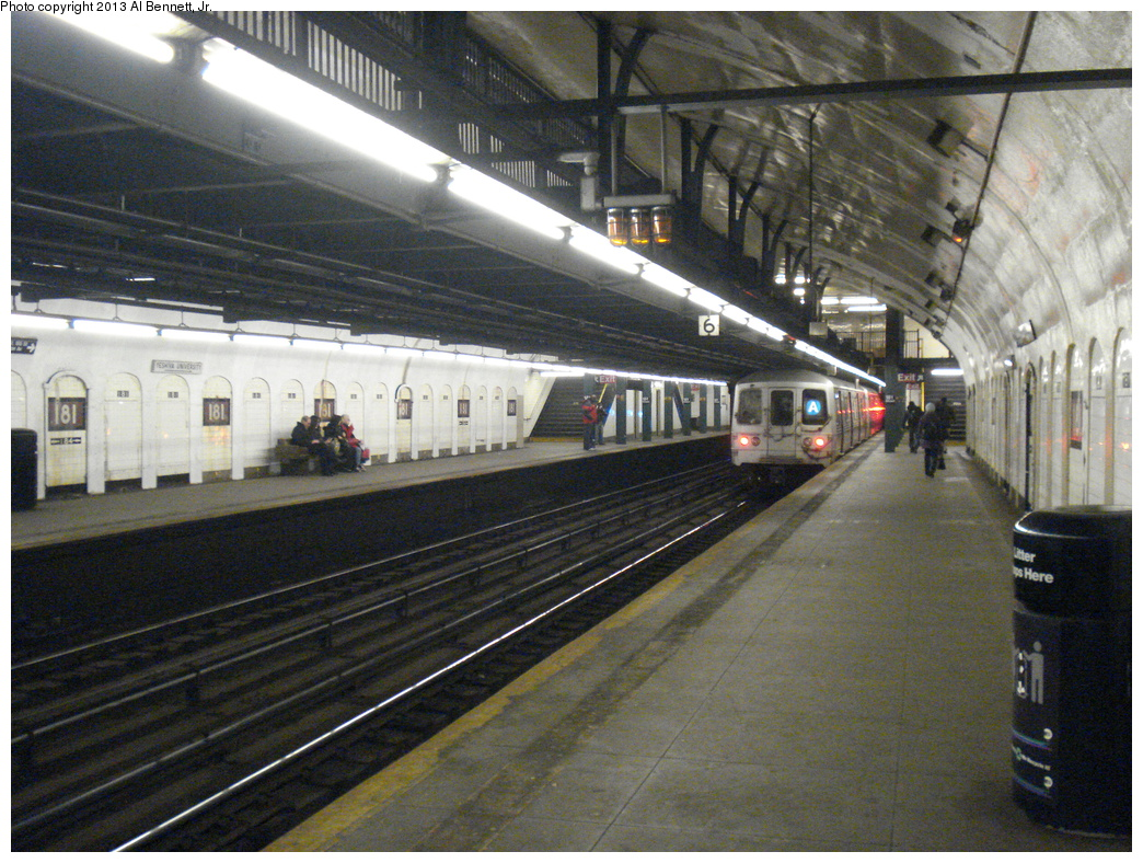 (449k, 1044x788)<br><b>Country:</b> United States<br><b>City:</b> New York<br><b>System:</b> New York City Transit<br><b>Line:</b> IND 8th Avenue Line<br><b>Location:</b> 181st Street <br><b>Route:</b> A<br><b>Car:</b> R-46 (Pullman-Standard, 1974-75)  <br><b>Photo by:</b> Al Bennett, Jr.<br><b>Date:</b> 4/2/2013<br><b>Viewed (this week/total):</b> 0 / 1368