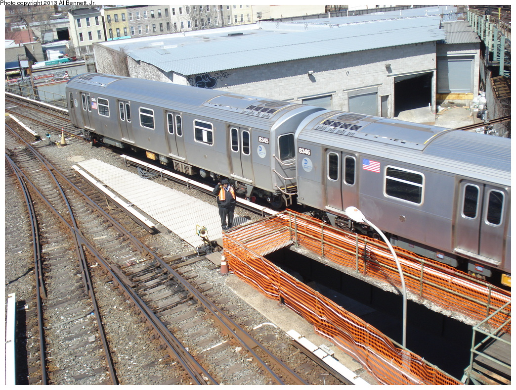 (525k, 1044x788)<br><b>Country:</b> United States<br><b>City:</b> New York<br><b>System:</b> New York City Transit<br><b>Location:</b> East New York Yard/Shops<br><b>Car:</b> R-160A-1 (Alstom, 2005-2008, 4 car sets)  8345 <br><b>Photo by:</b> Al Bennett, Jr.<br><b>Date:</b> 4/3/2013<br><b>Viewed (this week/total):</b> 0 / 634