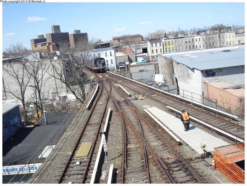(506k, 1044x788)<br><b>Country:</b> United States<br><b>City:</b> New York<br><b>System:</b> New York City Transit<br><b>Line:</b> BMT Canarsie Line<br><b>Location:</b> Broadway Junction <br><b>Route:</b> L<br><b>Car:</b> R-160A-1 (Alstom, 2005-2008, 4 car sets)  8317 <br><b>Photo by:</b> Al Bennett, Jr.<br><b>Date:</b> 4/3/2013<br><b>Viewed (this week/total):</b> 2 / 1448