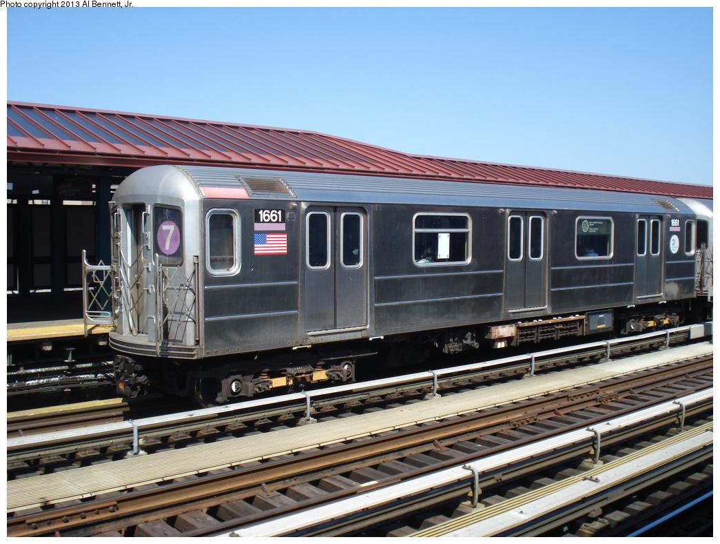 (366k, 1044x788)<br><b>Country:</b> United States<br><b>City:</b> New York<br><b>System:</b> New York City Transit<br><b>Line:</b> IRT Flushing Line<br><b>Location:</b> 61st Street/Woodside <br><b>Route:</b> 7<br><b>Car:</b> R-62A (Bombardier, 1984-1987)  1661 <br><b>Photo by:</b> Al Bennett, Jr.<br><b>Date:</b> 4/5/2013<br><b>Viewed (this week/total):</b> 0 / 976