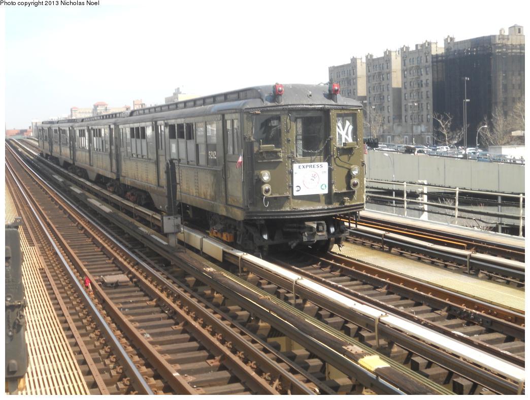 (380k, 1044x788)<br><b>Country:</b> United States<br><b>City:</b> New York<br><b>System:</b> New York City Transit<br><b>Line:</b> IRT Woodlawn Line<br><b>Location:</b> 161st Street/River Avenue (Yankee Stadium) <br><b>Route:</b> Fan Trip<br><b>Car:</b> Low-V (Museum Train) 5292 <br><b>Photo by:</b> Nicholas Noel<br><b>Date:</b> 4/1/2013<br><b>Notes:</b> Yankees 2013 home opening day.<br><b>Viewed (this week/total):</b> 2 / 633