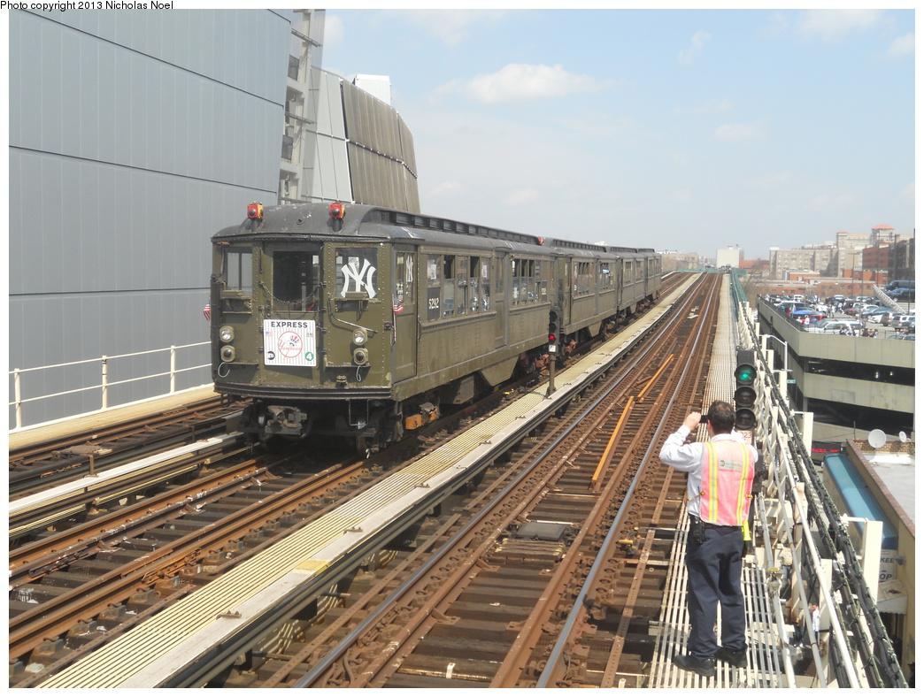 (406k, 1044x788)<br><b>Country:</b> United States<br><b>City:</b> New York<br><b>System:</b> New York City Transit<br><b>Line:</b> IRT Woodlawn Line<br><b>Location:</b> 161st Street/River Avenue (Yankee Stadium) <br><b>Route:</b> Fan Trip<br><b>Car:</b> Low-V (Museum Train) 5292 <br><b>Photo by:</b> Nicholas Noel<br><b>Date:</b> 4/1/2013<br><b>Notes:</b> Yankees 2013 home opening day.<br><b>Viewed (this week/total):</b> 0 / 992