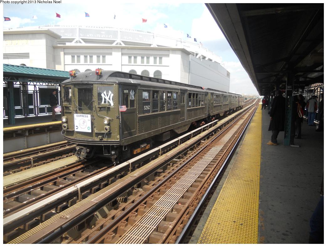 (430k, 1044x788)<br><b>Country:</b> United States<br><b>City:</b> New York<br><b>System:</b> New York City Transit<br><b>Line:</b> IRT Woodlawn Line<br><b>Location:</b> 161st Street/River Avenue (Yankee Stadium) <br><b>Route:</b> Fan Trip<br><b>Car:</b> Low-V (Museum Train) 5292 <br><b>Photo by:</b> Nicholas Noel<br><b>Date:</b> 4/1/2013<br><b>Notes:</b> Yankees 2013 home opening day.<br><b>Viewed (this week/total):</b> 1 / 703