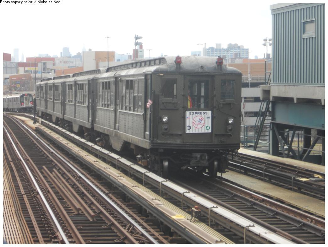 (323k, 1044x788)<br><b>Country:</b> United States<br><b>City:</b> New York<br><b>System:</b> New York City Transit<br><b>Line:</b> IRT Woodlawn Line<br><b>Location:</b> 161st Street/River Avenue (Yankee Stadium) <br><b>Route:</b> Fan Trip<br><b>Car:</b> Low-V (Museum Train) 5443 <br><b>Photo by:</b> Nicholas Noel<br><b>Date:</b> 4/1/2013<br><b>Notes:</b> Yankees 2013 home opening day.<br><b>Viewed (this week/total):</b> 0 / 746