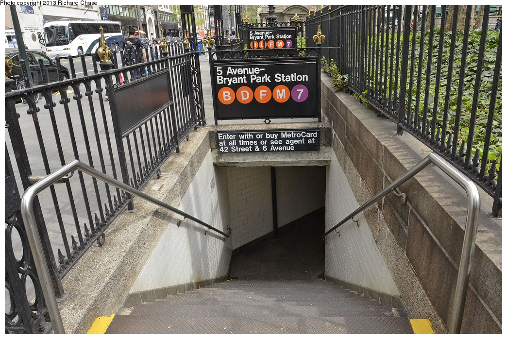 (421k, 1044x698)<br><b>Country:</b> United States<br><b>City:</b> New York<br><b>System:</b> New York City Transit<br><b>Line:</b> IND 6th Avenue Line<br><b>Location:</b> 42nd Street/Bryant Park <br><b>Photo by:</b> Richard Chase<br><b>Date:</b> 4/28/2013<br><b>Viewed (this week/total):</b> 0 / 895