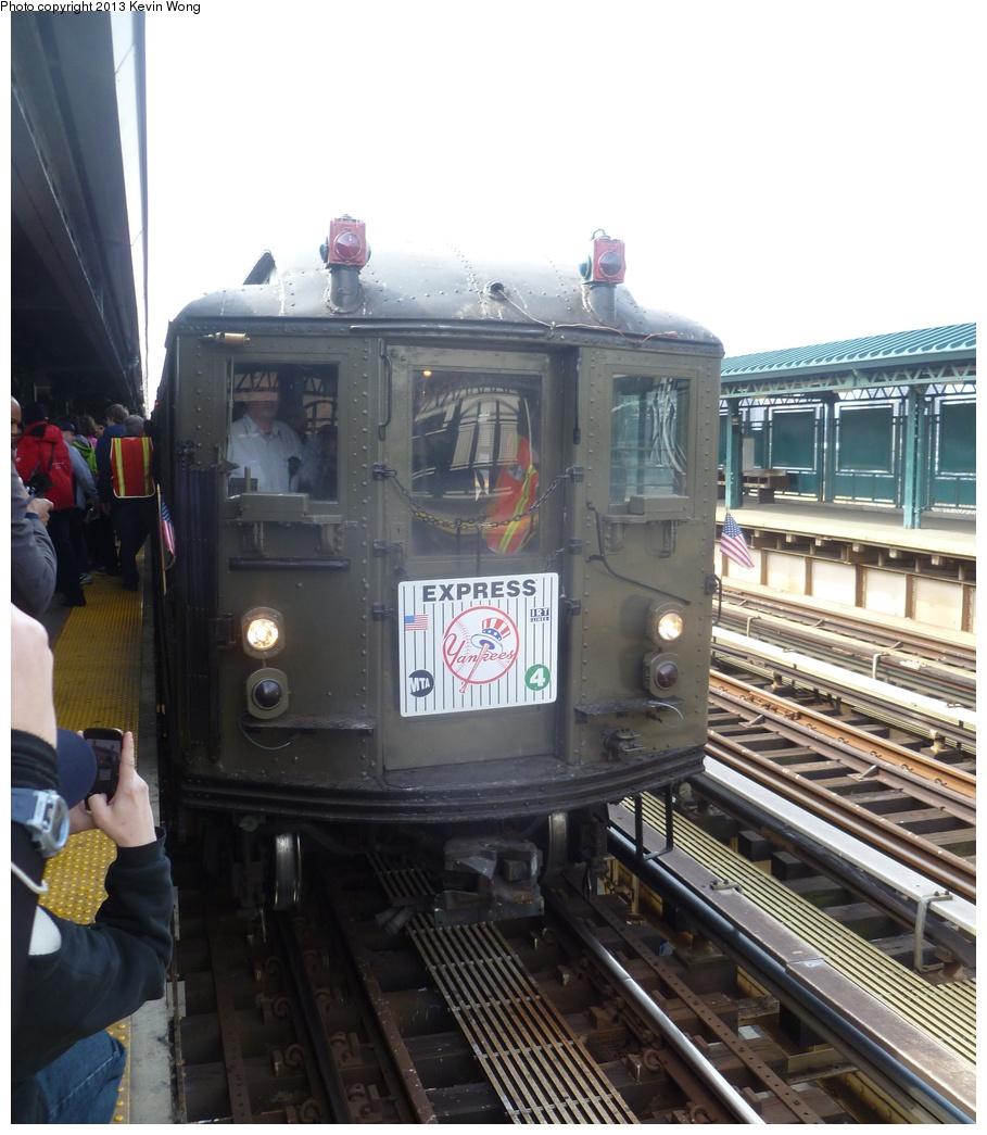 (301k, 909x1045)<br><b>Country:</b> United States<br><b>City:</b> New York<br><b>System:</b> New York City Transit<br><b>Line:</b> IRT Woodlawn Line<br><b>Location:</b> 161st Street/River Avenue (Yankee Stadium) <br><b>Route:</b> Fan Trip<br><b>Car:</b> Low-V (Museum Train) 5443 <br><b>Photo by:</b> Kevin Wong<br><b>Date:</b> 4/1/2013<br><b>Notes:</b> Yankees 2013 home opening day.<br><b>Viewed (this week/total):</b> 0 / 907