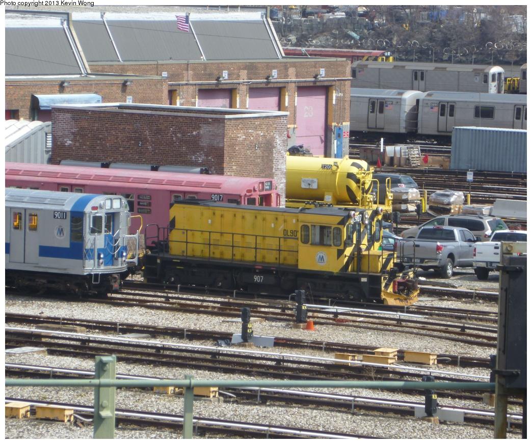 (443k, 1044x872)<br><b>Country:</b> United States<br><b>City:</b> New York<br><b>System:</b> New York City Transit<br><b>Location:</b> 207th Street Yard<br><b>Car:</b> R-120 Locomotive  907 <br><b>Photo by:</b> Kevin Wong<br><b>Date:</b> 4/1/2013<br><b>Viewed (this week/total):</b> 1 / 582