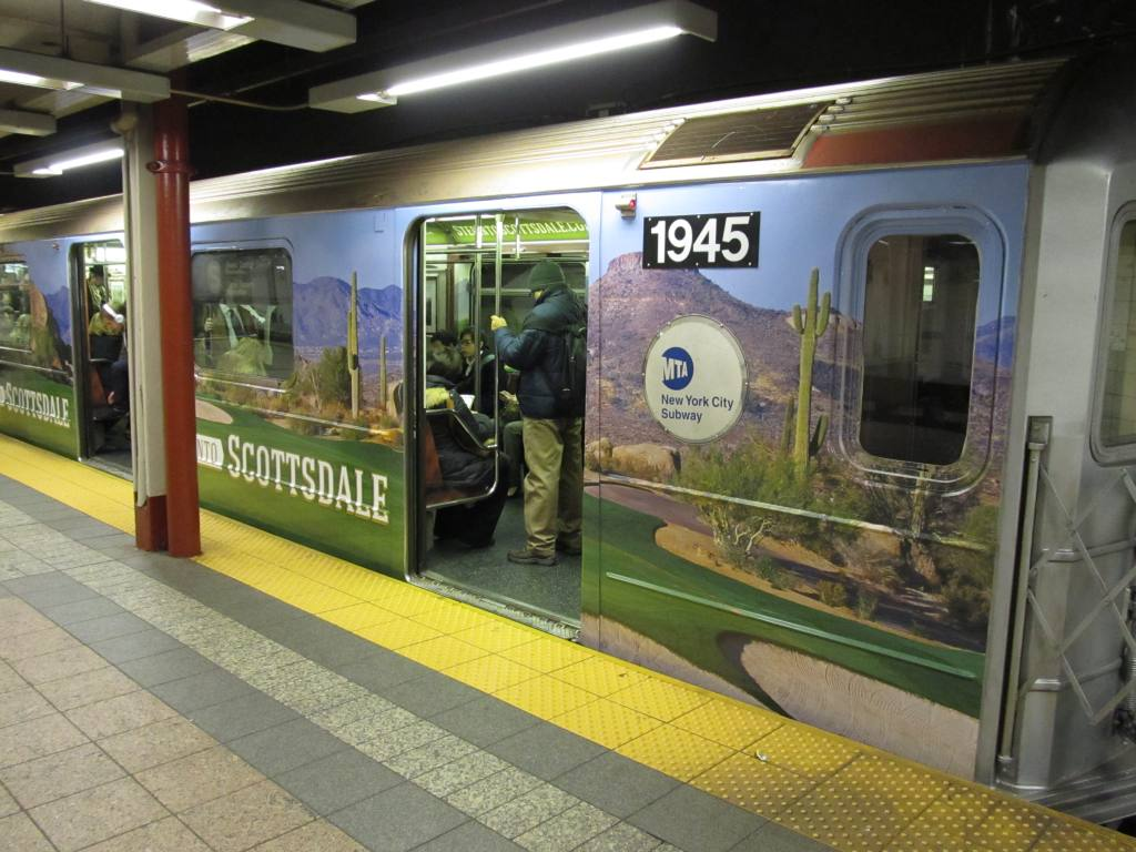 (123k, 1024x768)<br><b>Country:</b> United States<br><b>City:</b> New York<br><b>System:</b> New York City Transit<br><b>Line:</b> IRT Times Square-Grand Central Shuttle<br><b>Location:</b> Grand Central <br><b>Route:</b> S<br><b>Car:</b> R-62A (Bombardier, 1984-1987)  1945 <br><b>Photo by:</b> Robbie Rosenfeld<br><b>Date:</b> 2/6/2013<br><b>Notes:</b> Scottzdale, AZ tourism ad wrap<br><b>Viewed (this week/total):</b> 1 / 632