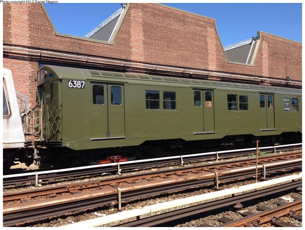 (406k, 1044x788)<br><b>Country:</b> United States<br><b>City:</b> New York<br><b>System:</b> New York City Transit<br><b>Location:</b> 207th Street Yard<br><b>Car:</b> R-16 (American Car & Foundry, 1955) 6387 <br><b>Photo by:</b> Daniel Negron<br><b>Date:</b> 5/1/2013<br><b>Viewed (this week/total):</b> 4 / 1276