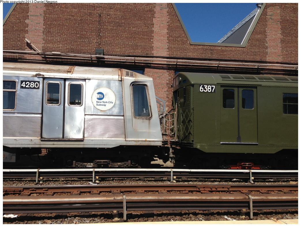 (362k, 1044x788)<br><b>Country:</b> United States<br><b>City:</b> New York<br><b>System:</b> New York City Transit<br><b>Location:</b> 207th Street Yard<br><b>Car:</b> R-16 (American Car & Foundry, 1955) 6387 <br><b>Photo by:</b> Daniel Negron<br><b>Date:</b> 5/1/2013<br><b>Notes:</b> With R-40 4280<br><b>Viewed (this week/total):</b> 3 / 1176