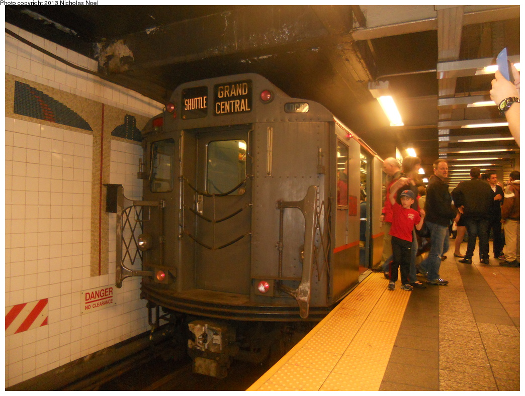 (384k, 1044x788)<br><b>Country:</b> United States<br><b>City:</b> New York<br><b>System:</b> New York City Transit<br><b>Line:</b> IRT Times Square-Grand Central Shuttle<br><b>Location:</b> Grand Central <br><b>Route:</b> Museum Train Service<br><b>Car:</b> R-12 (American Car & Foundry, 1948) 5760 <br><b>Photo by:</b> Nicholas Noel<br><b>Date:</b> 5/11/2013<br><b>Notes:</b> National Train Day service.<br><b>Viewed (this week/total):</b> 0 / 736