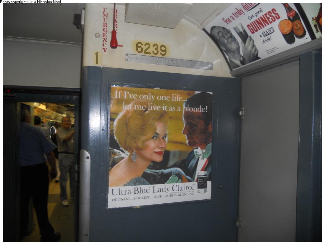 (282k, 1044x788)<br><b>Country:</b> United States<br><b>City:</b> New York<br><b>System:</b> New York City Transit<br><b>Line:</b> IRT Times Square-Grand Central Shuttle<br><b>Location:</b> Grand Central<br><b>Route:</b> Museum Train Service<br><b>Car:</b> R-15 (American Car & Foundry, 1950) 6239 <br><b>Photo by:</b> Nicholas Noel<br><b>Date:</b> 5/12/2013<br><b>Notes:</b> National Train Day service.<br><b>Viewed (this week/total):</b> 2 / 1147