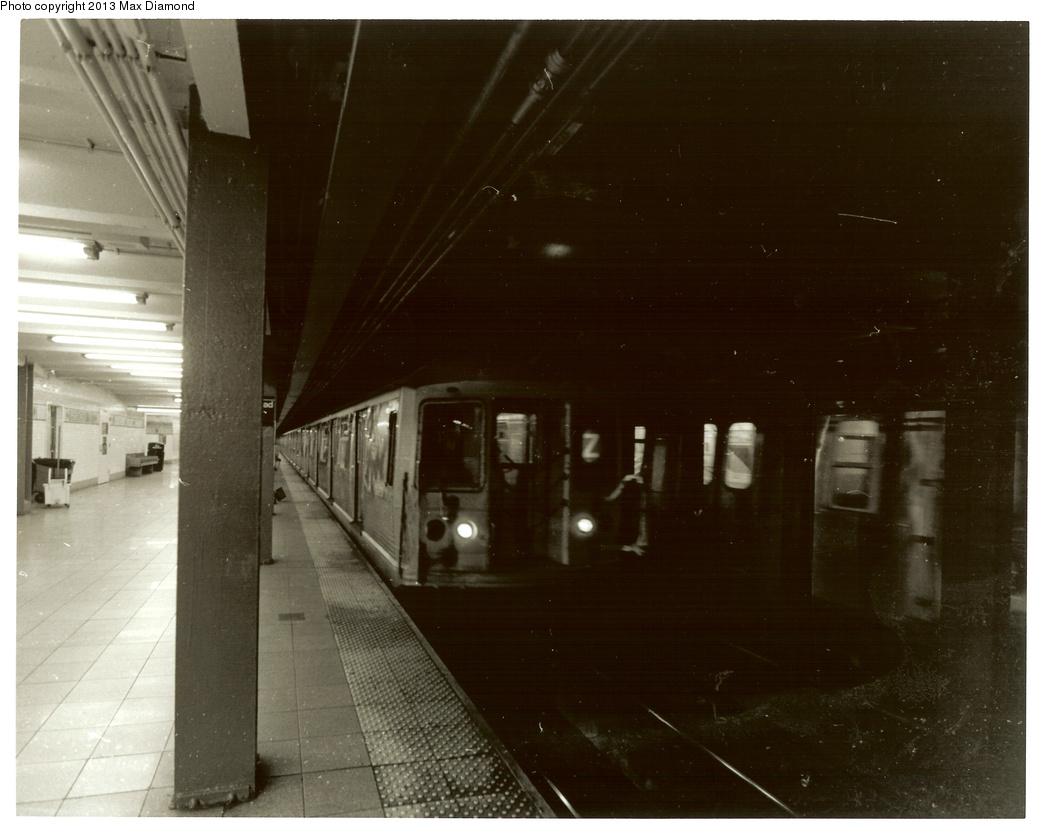 (282k, 1044x834)<br><b>Country:</b> United States<br><b>City:</b> New York<br><b>System:</b> New York City Transit<br><b>Line:</b> BMT Nassau Street/Jamaica Line<br><b>Location:</b> Broad Street <br><b>Route:</b> Z<br><b>Car:</b> R-42 (St. Louis, 1969-1970)   <br><b>Photo by:</b> Max Diamond<br><b>Date:</b> 3/28/2013<br><b>Viewed (this week/total):</b> 3 / 1517