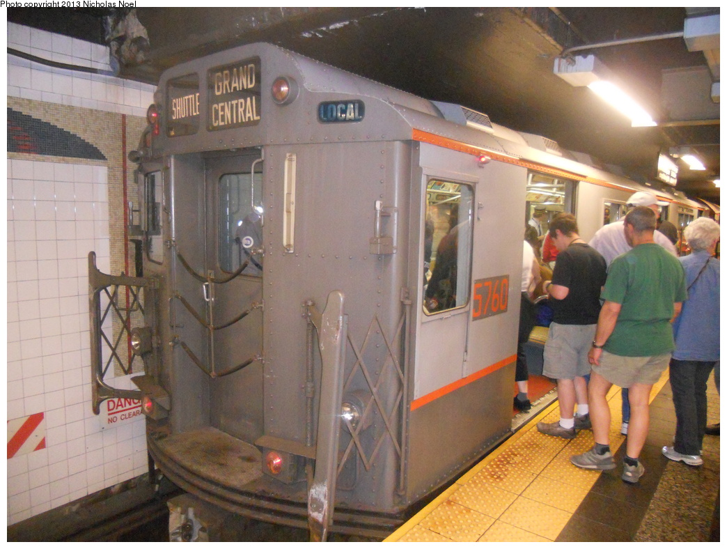 (385k, 1044x788)<br><b>Country:</b> United States<br><b>City:</b> New York<br><b>System:</b> New York City Transit<br><b>Line:</b> IRT Times Square-Grand Central Shuttle<br><b>Location:</b> Grand Central <br><b>Route:</b> Museum Train Service<br><b>Car:</b> R-12 (American Car & Foundry, 1948) 5760 <br><b>Photo by:</b> Nicholas Noel<br><b>Date:</b> 5/11/2013<br><b>Notes:</b> National Train Day service.<br><b>Viewed (this week/total):</b> 0 / 897