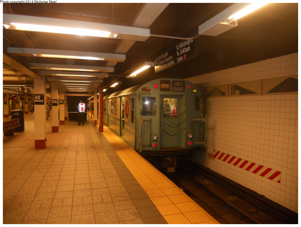 (353k, 1044x788)<br><b>Country:</b> United States<br><b>City:</b> New York<br><b>System:</b> New York City Transit<br><b>Line:</b> IRT Times Square-Grand Central Shuttle<br><b>Location:</b> Grand Central <br><b>Route:</b> Museum Train Service<br><b>Car:</b> R-33 World's Fair (St. Louis, 1963-64) 9306 <br><b>Photo by:</b> Nicholas Noel<br><b>Date:</b> 5/12/2013<br><b>Notes:</b> National Train Day service.<br><b>Viewed (this week/total):</b> 0 / 881