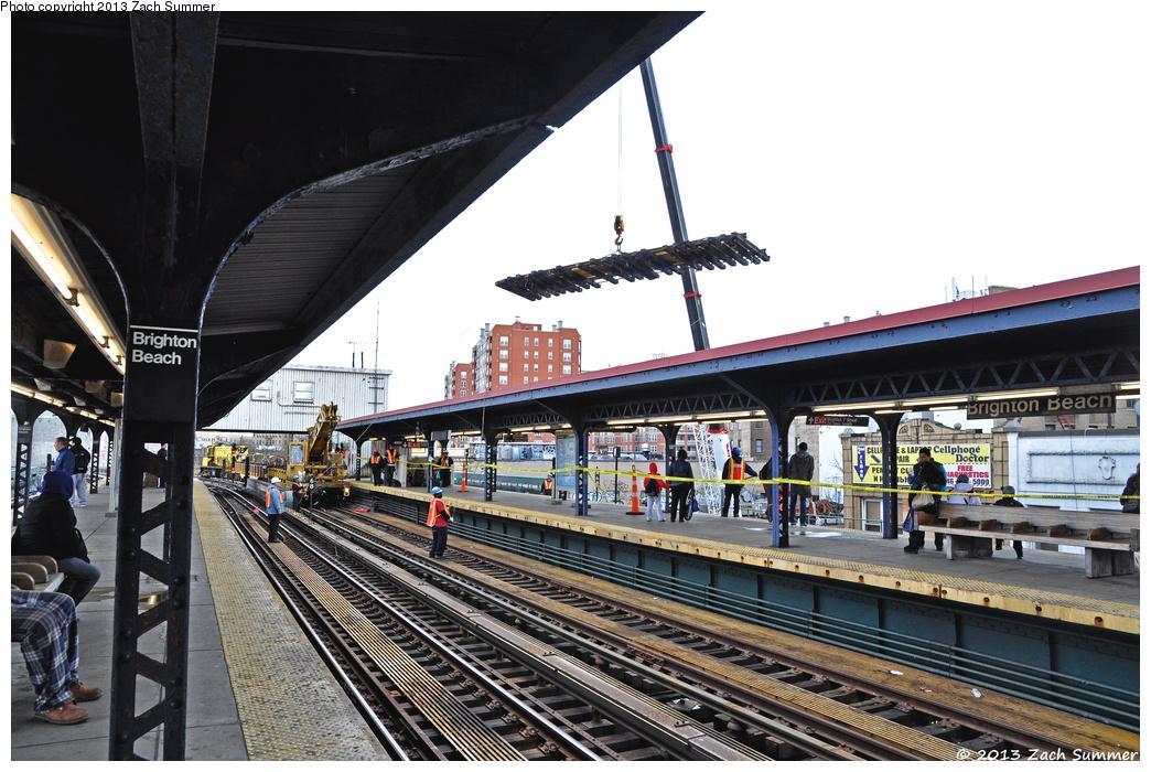 (391k, 1044x700)<br><b>Country:</b> United States<br><b>City:</b> New York<br><b>System:</b> New York City Transit<br><b>Line:</b> BMT Brighton Line<br><b>Location:</b> Brighton Beach <br><b>Photo by:</b> Zach Summer<br><b>Date:</b> 4/13/2013<br><b>Notes:</b> Track Panel Reconstruction Project<br><b>Viewed (this week/total):</b> 0 / 832