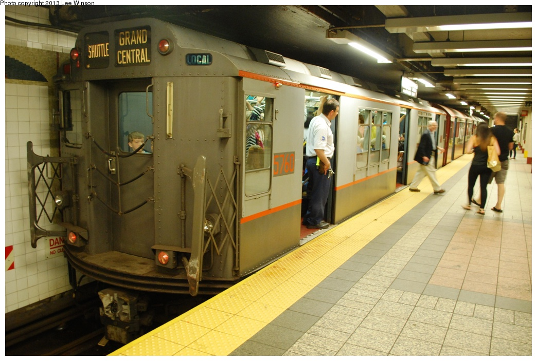(288k, 1044x703)<br><b>Country:</b> United States<br><b>City:</b> New York<br><b>System:</b> New York City Transit<br><b>Line:</b> IRT Times Square-Grand Central Shuttle<br><b>Location:</b> Grand Central<br><b>Car:</b> R-12 (American Car & Foundry, 1948) 5760 <br><b>Photo by:</b> Lee Winson<br><b>Date:</b> 5/12/2013<br><b>Notes:</b> IRT Grand Central Shuttle, #5760.  Grand Central Parade of Trains.<br><b>Viewed (this week/total):</b> 1 / 1128