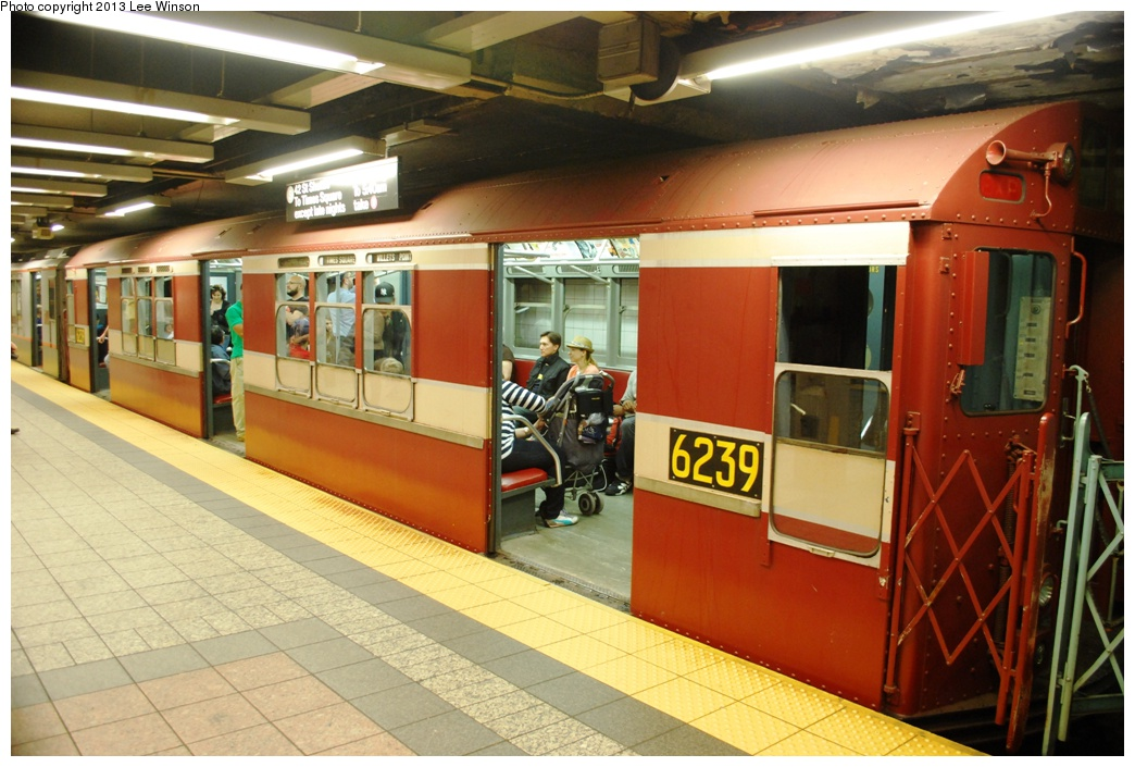 (299k, 1044x705)<br><b>Country:</b> United States<br><b>City:</b> New York<br><b>System:</b> New York City Transit<br><b>Line:</b> IRT Times Square-Grand Central Shuttle<br><b>Location:</b> Grand Central<br><b>Car:</b> R-15 (American Car & Foundry, 1950) 6239 <br><b>Photo by:</b> Lee Winson<br><b>Date:</b> 5/12/2013<br><b>Notes:</b> IRT Grand Central Shuttle, #6239.  Grand Central Parade of Trains.<br><b>Viewed (this week/total):</b> 0 / 1186