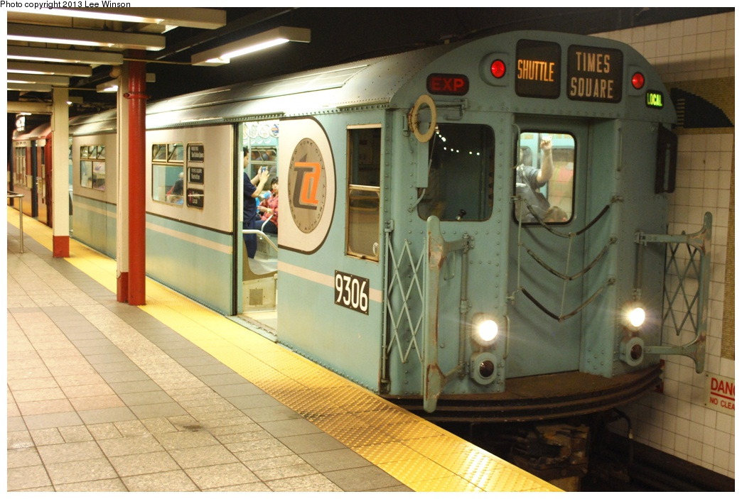 (284k, 1044x703)<br><b>Country:</b> United States<br><b>City:</b> New York<br><b>System:</b> New York City Transit<br><b>Line:</b> IRT Times Square-Grand Central Shuttle<br><b>Location:</b> Grand Central <br><b>Car:</b> R-33 World's Fair (St. Louis, 1963-64) 9306 <br><b>Photo by:</b> Lee Winson<br><b>Date:</b> 5/12/2013<br><b>Notes:</b> IRT Grand Central Shuttle, #9306.  Grand Central Parade of Trains.<br><b>Viewed (this week/total):</b> 0 / 768