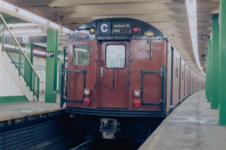 (203k, 792x526)<br><b>Country:</b> United States<br><b>City:</b> New York<br><b>System:</b> New York City Transit<br><b>Line:</b> IND Concourse Line<br><b>Location:</b> Bedford Park Boulevard <br><b>Route:</b> C<br><b>Car:</b> R-30 (St. Louis, 1961)  <br><b>Photo by:</b> James McGinty<br><b>Notes:</b> Circa 1989<br><b>Viewed (this week/total):</b> 4 / 2611