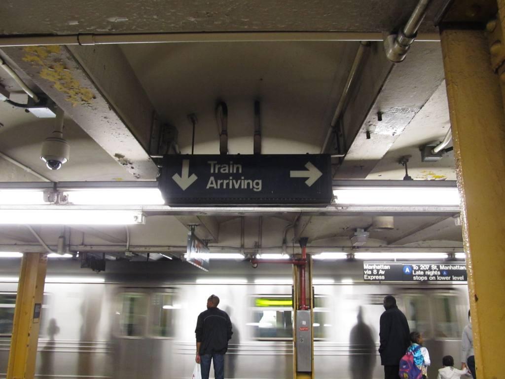 (97k, 1024x768)<br><b>Country:</b> United States<br><b>City:</b> New York<br><b>System:</b> New York City Transit<br><b>Line:</b> IND Fulton Street Line<br><b>Location:</b> Nostrand Avenue <br><b>Photo by:</b> Robbie Rosenfeld<br><b>Date:</b> 4/28/2013<br><b>Notes:</b> Train arriving indicator<br><b>Viewed (this week/total):</b> 3 / 1302