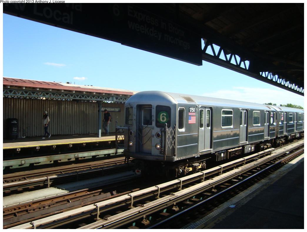 (315k, 1044x788)<br><b>Country:</b> United States<br><b>City:</b> New York<br><b>System:</b> New York City Transit<br><b>Line:</b> IRT Pelham Line<br><b>Location:</b> Middletown Road <br><b>Route:</b> 6<br><b>Car:</b> R-62A (Bombardier, 1984-1987)  1750 <br><b>Photo by:</b> Anthony J. Liccese<br><b>Date:</b> 6/12/2013<br><b>Viewed (this week/total):</b> 0 / 1248
