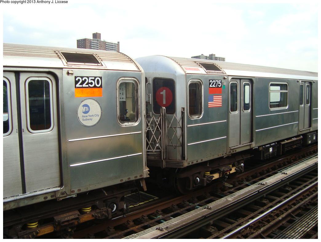 (306k, 1044x788)<br><b>Country:</b> United States<br><b>City:</b> New York<br><b>System:</b> New York City Transit<br><b>Line:</b> IRT West Side Line<br><b>Location:</b> 238th Street <br><b>Route:</b> 1<br><b>Car:</b> R-62A (Bombardier, 1984-1987)  2275 <br><b>Photo by:</b> Anthony J. Liccese<br><b>Date:</b> 5/20/2013<br><b>Viewed (this week/total):</b> 2 / 1177