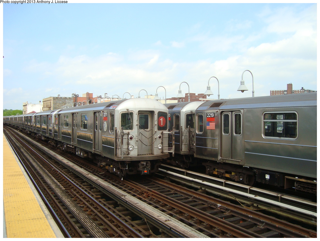 (318k, 1044x788)<br><b>Country:</b> United States<br><b>City:</b> New York<br><b>System:</b> New York City Transit<br><b>Line:</b> IRT West Side Line<br><b>Location:</b> 238th Street <br><b>Route:</b> 1<br><b>Car:</b> R-62A (Bombardier, 1984-1987)  2271 <br><b>Photo by:</b> Anthony J. Liccese<br><b>Date:</b> 5/20/2013<br><b>Viewed (this week/total):</b> 0 / 983