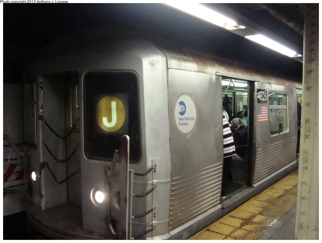 (292k, 1044x788)<br><b>Country:</b> United States<br><b>City:</b> New York<br><b>System:</b> New York City Transit<br><b>Line:</b> BMT Nassau Street/Jamaica Line<br><b>Location:</b> Canal Street <br><b>Route:</b> J<br><b>Car:</b> R-42 (St. Louis, 1969-1970)  4826 <br><b>Photo by:</b> Anthony J. Liccese<br><b>Date:</b> 5/20/2013<br><b>Viewed (this week/total):</b> 1 / 1109