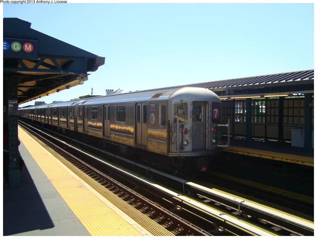 (324k, 1044x788)<br><b>Country:</b> United States<br><b>City:</b> New York<br><b>System:</b> New York City Transit<br><b>Line:</b> IRT Flushing Line<br><b>Location:</b> Court House Square/45th Road <br><b>Route:</b> 7<br><b>Car:</b> R-62A (Bombardier, 1984-1987)  2105 <br><b>Photo by:</b> Anthony J. Liccese<br><b>Date:</b> 6/4/2013<br><b>Viewed (this week/total):</b> 1 / 1008