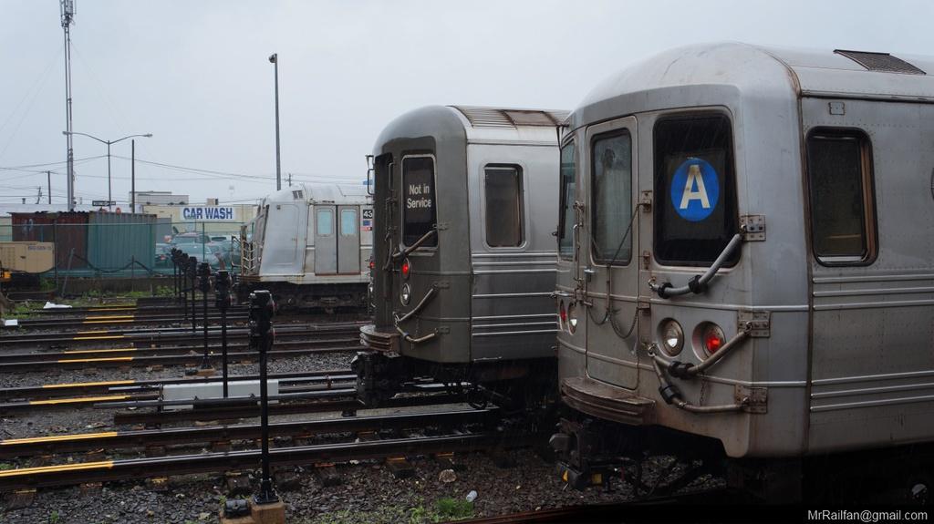 (188k, 1024x575)<br><b>Country:</b> United States<br><b>City:</b> New York<br><b>System:</b> New York City Transit<br><b>Location:</b> Rockaway Park Yard<br><b>Car:</b> R-68 (Westinghouse-Amrail, 1986-1988)   <br><b>Photo by:</b> Mr. Railfan <br><b>Date:</b> 6/13/2013<br><b>Notes:</b> With R46 shuttle and R40 school car<br><b>Viewed (this week/total):</b> 0 / 1288