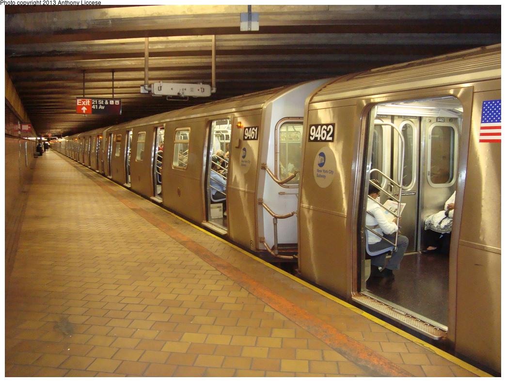 (378k, 1044x788)<br><b>Country:</b> United States<br><b>City:</b> New York<br><b>System:</b> New York City Transit<br><b>Line:</b> IND 63rd Street<br><b>Location:</b> 21st Street/Queensbridge <br><b>Route:</b> F<br><b>Car:</b> R-160A (Option 1) (Alstom, 2008-2009, 5 car sets)  9461 <br><b>Photo by:</b> Anthony J. Liccese<br><b>Date:</b> 6/20/2013<br><b>Viewed (this week/total):</b> 0 / 1410