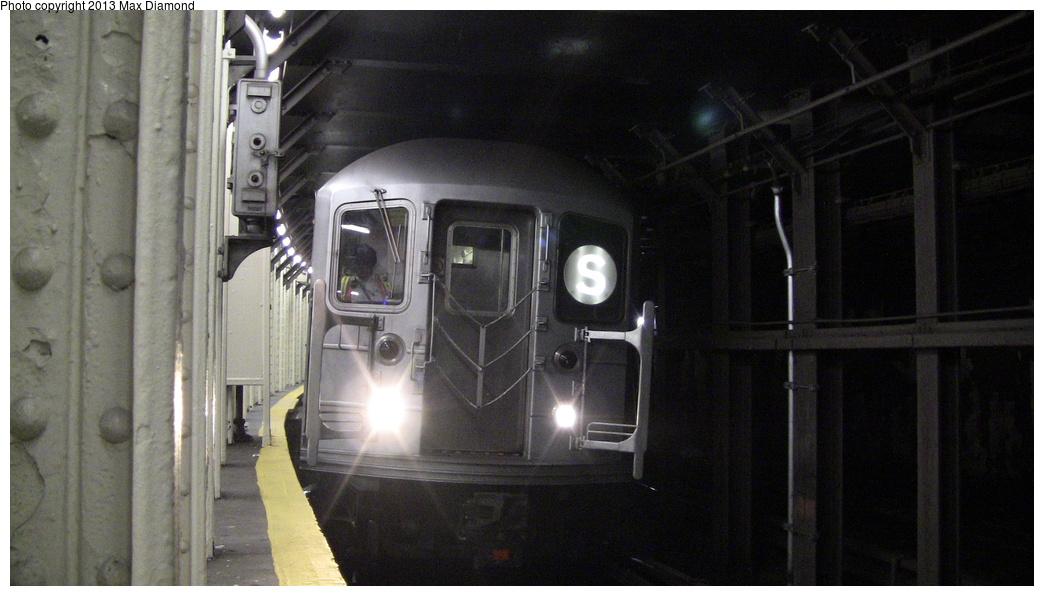 (245k, 1044x596)<br><b>Country:</b> United States<br><b>City:</b> New York<br><b>System:</b> New York City Transit<br><b>Line:</b> IRT Times Square-Grand Central Shuttle<br><b>Location:</b> Times Square <br><b>Route:</b> S<br><b>Car:</b> R-62A (Bombardier, 1984-1987)   <br><b>Photo by:</b> Max Diamond<br><b>Date:</b> 5/11/2013<br><b>Viewed (this week/total):</b> 0 / 1303