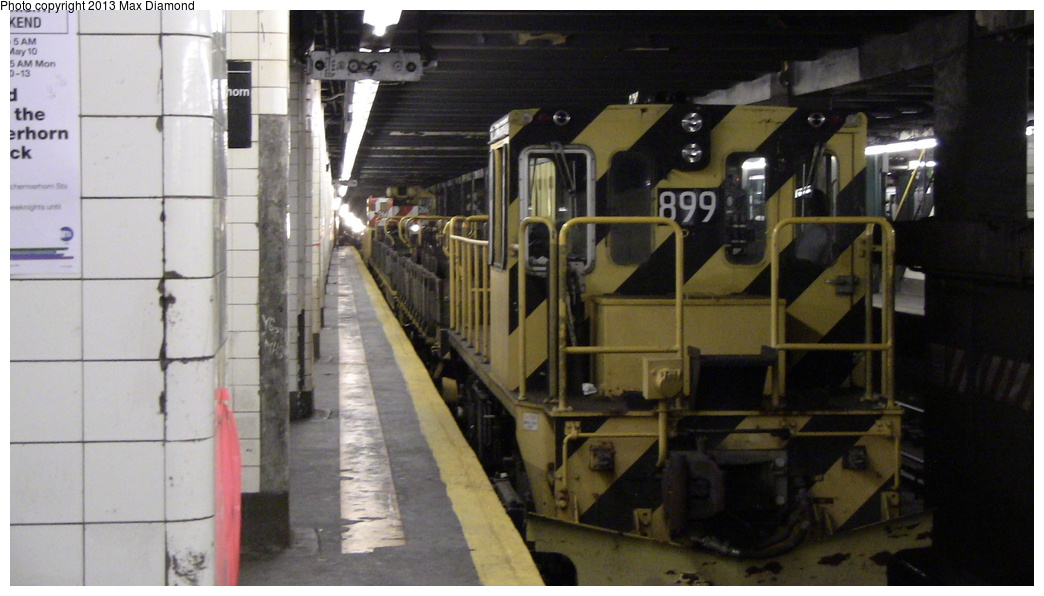 (241k, 1044x596)<br><b>Country:</b> United States<br><b>City:</b> New York<br><b>System:</b> New York City Transit<br><b>Line:</b> IND Fulton Street Line<br><b>Location:</b> Hoyt-Schermerhorn Street <br><b>Route:</b> Work Service<br><b>Car:</b> R-77 Locomotive  899 <br><b>Photo by:</b> Max Diamond<br><b>Date:</b> 5/11/2013<br><b>Viewed (this week/total):</b> 1 / 986