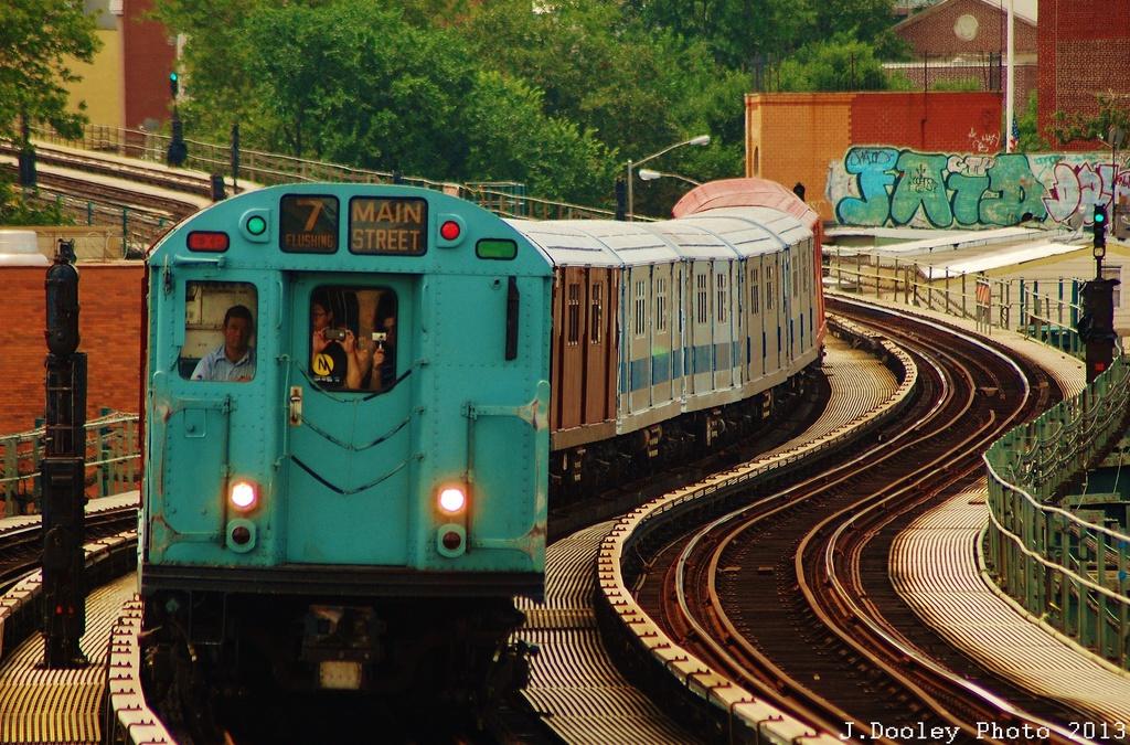 (423k, 1024x675)<br><b>Country:</b> United States<br><b>City:</b> New York<br><b>System:</b> New York City Transit<br><b>Line:</b> IRT Flushing Line<br><b>Location:</b> 61st Street/Woodside <br><b>Route:</b> Museum Train Service<br><b>Car:</b> R-33 World's Fair (St. Louis, 1963-64) 9306 <br><b>Photo by:</b> John Dooley<br><b>Date:</b> 7/14/2013<br><b>Viewed (this week/total):</b> 0 / 1229