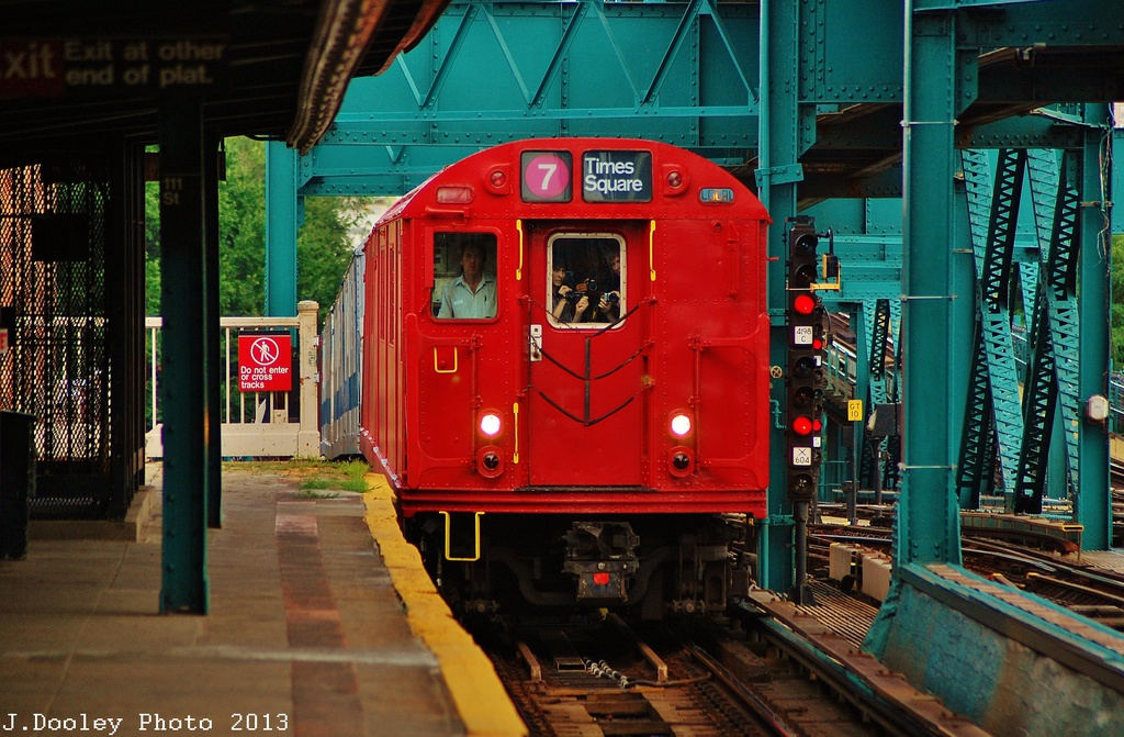 (364k, 1024x671)<br><b>Country:</b> United States<br><b>City:</b> New York<br><b>System:</b> New York City Transit<br><b>Line:</b> IRT Flushing Line<br><b>Location:</b> 111th Street <br><b>Route:</b> Museum Train Service<br><b>Car:</b> R-33 Main Line (St. Louis, 1962-63) 9016 <br><b>Photo by:</b> John Dooley<br><b>Date:</b> 7/14/2013<br><b>Viewed (this week/total):</b> 4 / 1241