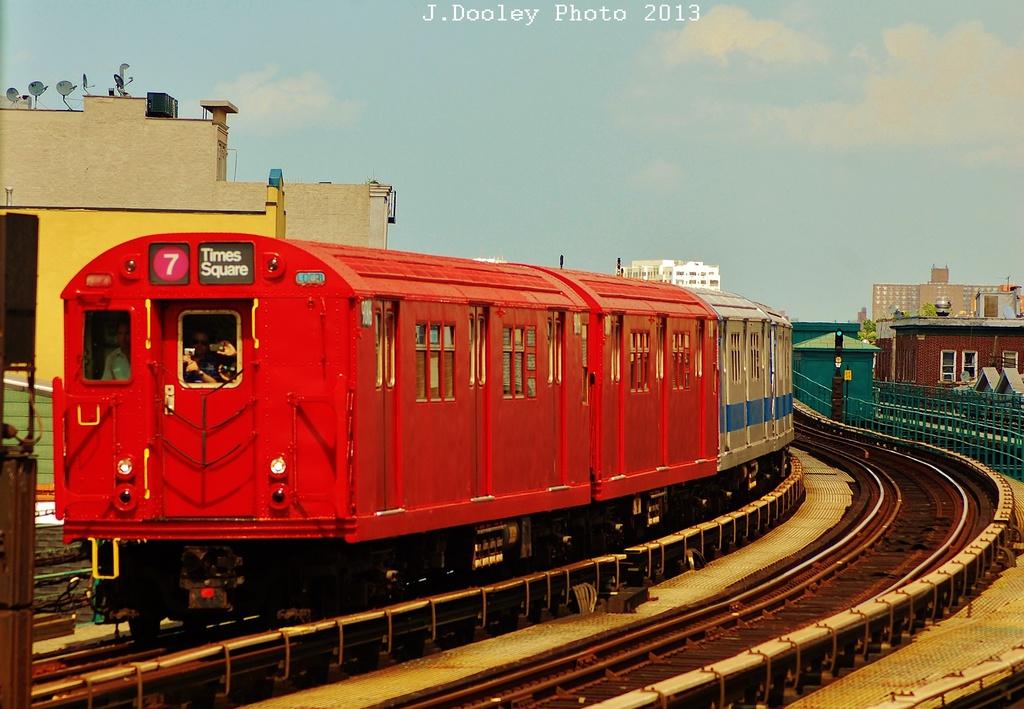 (326k, 1024x709)<br><b>Country:</b> United States<br><b>City:</b> New York<br><b>System:</b> New York City Transit<br><b>Line:</b> IRT Flushing Line<br><b>Location:</b> 103rd Street/Corona Plaza <br><b>Route:</b> Museum Train Service<br><b>Car:</b> R-33 Main Line (St. Louis, 1962-63) 9016 <br><b>Photo by:</b> John Dooley<br><b>Date:</b> 7/14/2013<br><b>Viewed (this week/total):</b> 1 / 1420