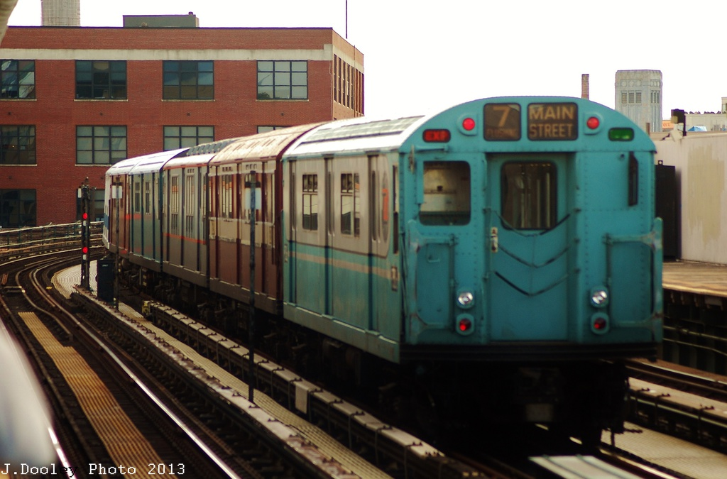 (263k, 1024x675)<br><b>Country:</b> United States<br><b>City:</b> New York<br><b>System:</b> New York City Transit<br><b>Line:</b> IRT Flushing Line<br><b>Location:</b> 33rd Street/Rawson Street <br><b>Route:</b> Museum Train Service<br><b>Car:</b> R-33 World's Fair (St. Louis, 1963-64) 9306 <br><b>Photo by:</b> John Dooley<br><b>Date:</b> 7/14/2013<br><b>Viewed (this week/total):</b> 0 / 1031