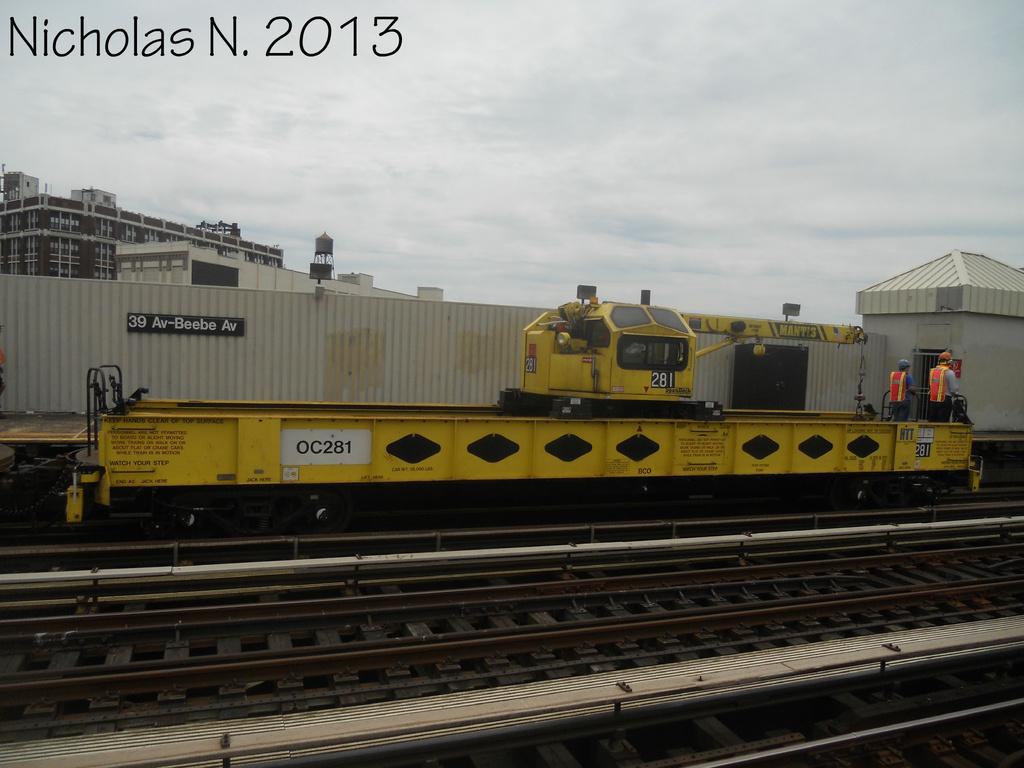 (277k, 1024x768)<br><b>Country:</b> United States<br><b>City:</b> New York<br><b>System:</b> New York City Transit<br><b>Line:</b> BMT Astoria Line<br><b>Location:</b> 39th/Beebe Aves. <br><b>Route:</b> Work Service<br><b>Car:</b> R-162 Crane Car  281 <br><b>Photo by:</b> Nicholas Noel<br><b>Date:</b> 6/2013<br><b>Viewed (this week/total):</b> 1 / 784