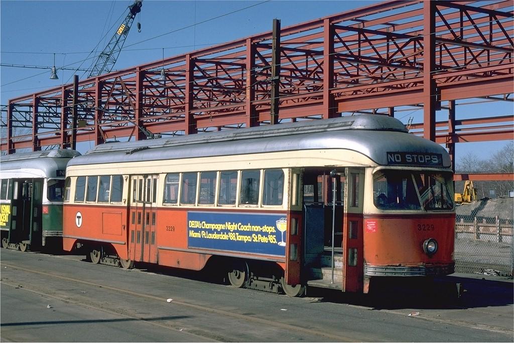 (245k, 1024x683)<br><b>Country:</b> United States<br><b>City:</b> Boston, MA<br><b>System:</b> MBTA<br><b>Line:</b> MBTA Green (D)<br><b>Location:</b> Riverside Yard <br><b>Car:</b> MBTA/BSRy PCC Wartime (Pullman-Standard, 1945-46)  3229 <br><b>Photo by:</b> Steve Zabel<br><b>Collection of:</b> Joe Testagrose<br><b>Date:</b> 3/27/1975<br><b>Viewed (this week/total):</b> 1 / 1887