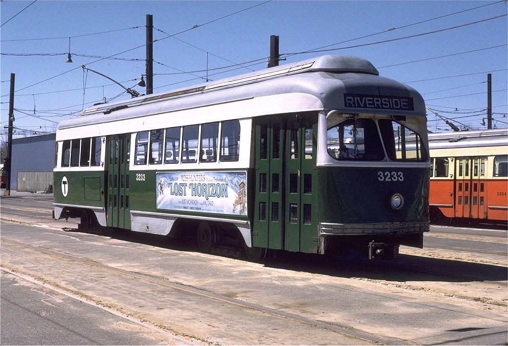(265k, 1024x697)<br><b>Country:</b> United States<br><b>City:</b> Boston, MA<br><b>System:</b> MBTA<br><b>Line:</b> MBTA Green (D)<br><b>Location:</b> Riverside Yard <br><b>Car:</b> MBTA/BSRy PCC Wartime (Pullman-Standard, 1945-46)  3233 <br><b>Photo by:</b> Gerald H. Landau<br><b>Collection of:</b> Joe Testagrose<br><b>Date:</b> 4/7/1973<br><b>Viewed (this week/total):</b> 3 / 1355