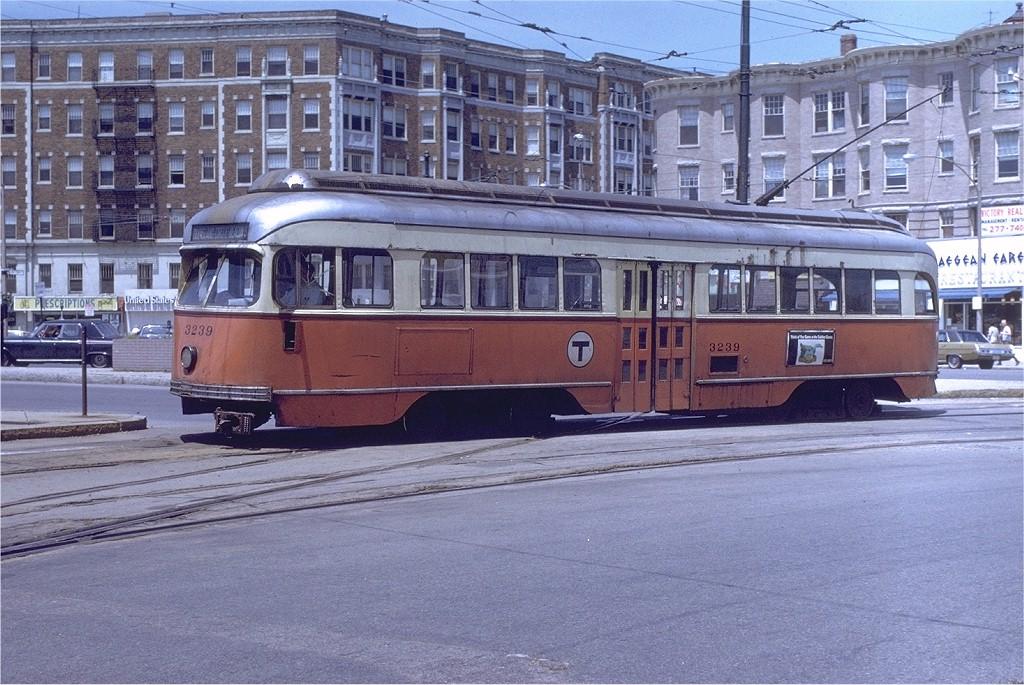 (237k, 1024x685)<br><b>Country:</b> United States<br><b>City:</b> Boston, MA<br><b>System:</b> MBTA<br><b>Line:</b> MBTA Green (C)<br><b>Location:</b> Cleveland Circle <br><b>Car:</b> MBTA/BSRy PCC Wartime (Pullman-Standard, 1945-46)  3239 <br><b>Photo by:</b> Joe Testagrose<br><b>Date:</b> 7/2/1972<br><b>Viewed (this week/total):</b> 3 / 1628